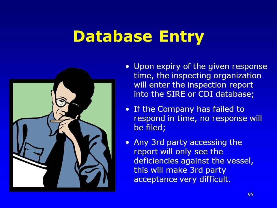 95 Database Entry Upon expiry of the given response time, the inspecting organization will enter the inspection report into the SIRE or CDI database;