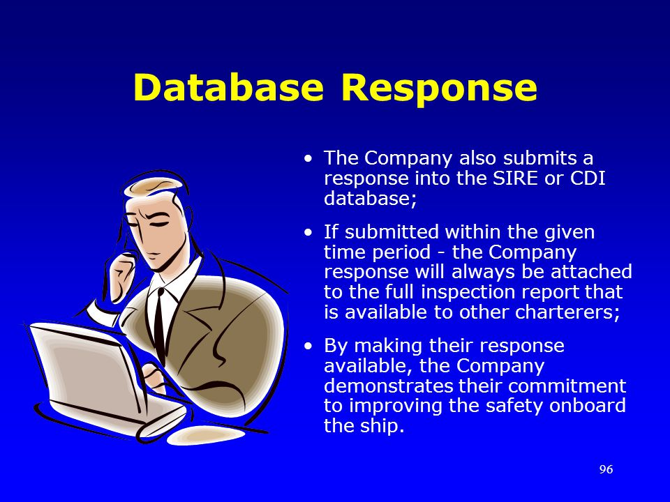 96 Database Response The Company also submits a response into the SIRE or CDI database; If submitted within the given time period - the Company respon