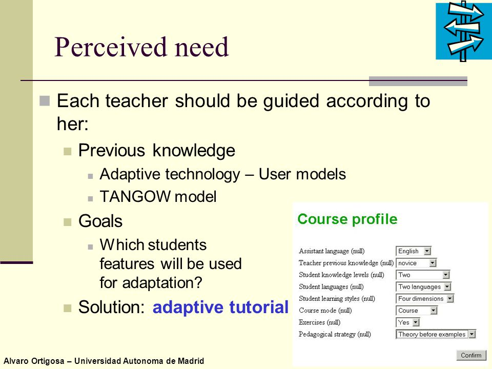 Alvaro Ortigosa – Universidad Autonoma de Madrid Perceived need Each teacher should be guided according to her: Previous knowledge Adaptive technology – User models TANGOW model Goals Which students features will be used for adaptation.