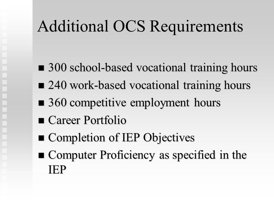 Occupational Course of Study Curriculum Framework English: Occupational English I-II-III-IV English: Occupational English I-II-III-IV Math: Occupation
