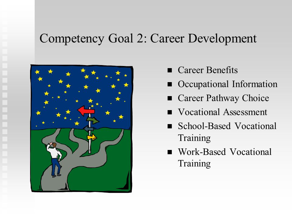 Competency Goal 1: Self-Determination Self-Awareness Understanding evaluations and assessments Career Planning Forms of Communication Laws and Disabil
