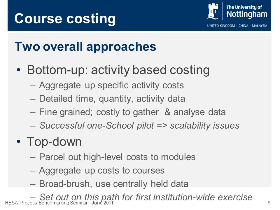 HESA: Process Benchmarking Seminar – June 20117 Course costing TRAC Teaching Costs By School Assessment Variable CostsFixed Costs TeachingOther The Model: Costs