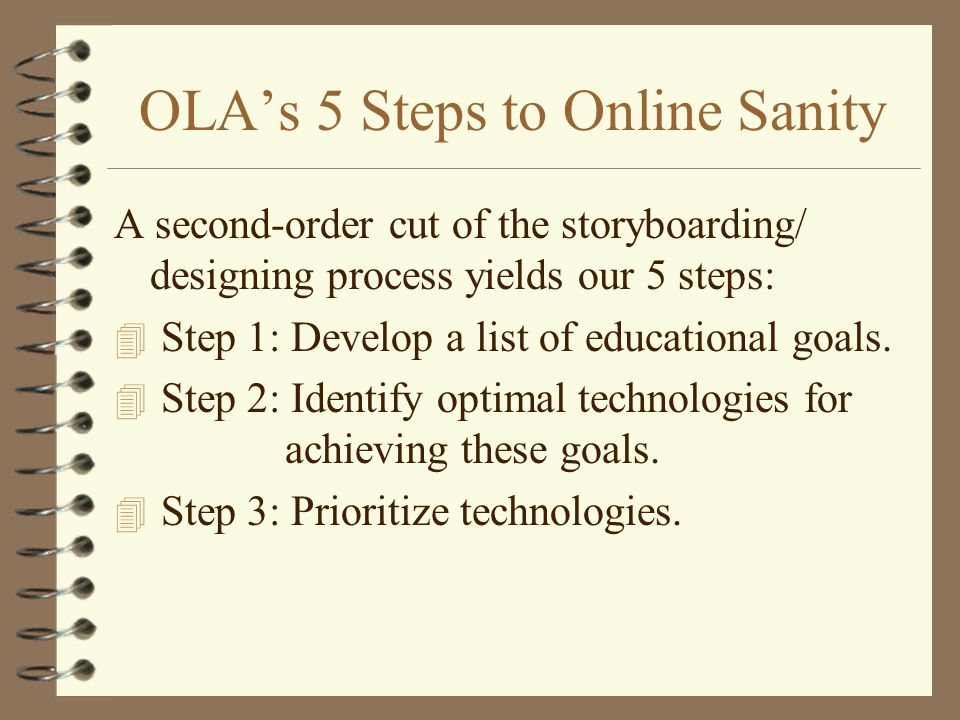 OLAs 5 Steps to Online Sanity A second-order cut of the storyboarding/ designing process yields our 5 steps: 4 Step 1: Develop a list of educational goals.