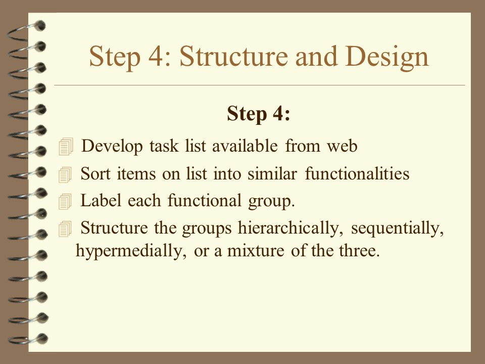 Step 4: Structure and Design Step 4: 4 Develop task list available from web 4 Sort items on list into similar functionalities 4 Label each functional group.