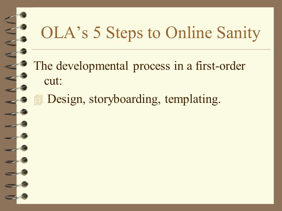 OLAs 5 Steps to Online Sanity The developmental process in a first-order cut: 4 Design, storyboarding, templating.