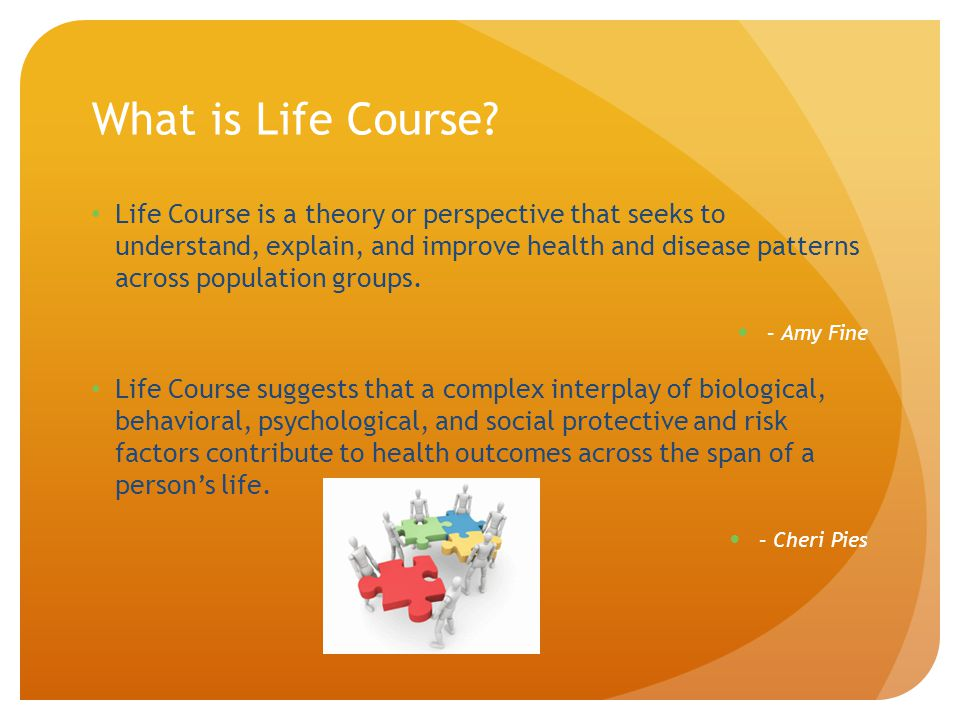 What is Life Course? Life Course is a theory or perspective that seeks to understand, explain, and improve health and disease patterns across populati