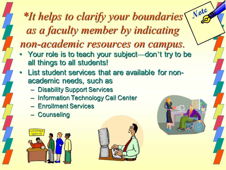 *It helps to clarify your boundaries as a faculty member by indicating non-academic resources on campus.