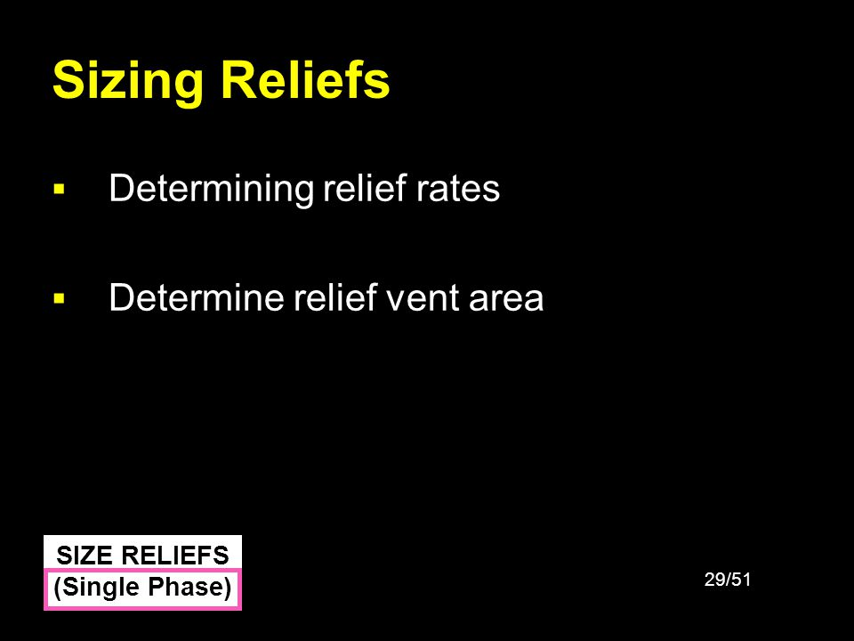 29/51 Sizing Reliefs Determining relief rates Determine relief vent area SIZE RELIEFS (Single Phase)
