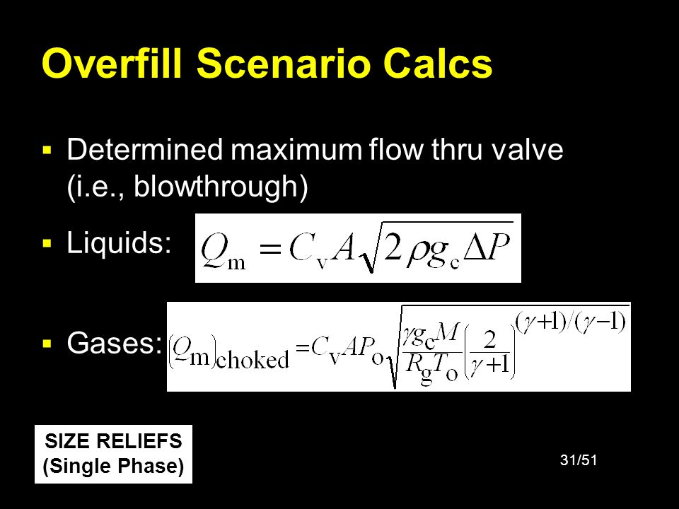 32/51 Fire Scenario Calcs API 520 gives all equations for calculating fire relief rate, step-by-step 1.Determine the total wetted surface area 2.Determine the total heat absorption 3.Determine the rate of vapor or gas vaporized from the liquid SIZE RELIEFS (Single Phase)