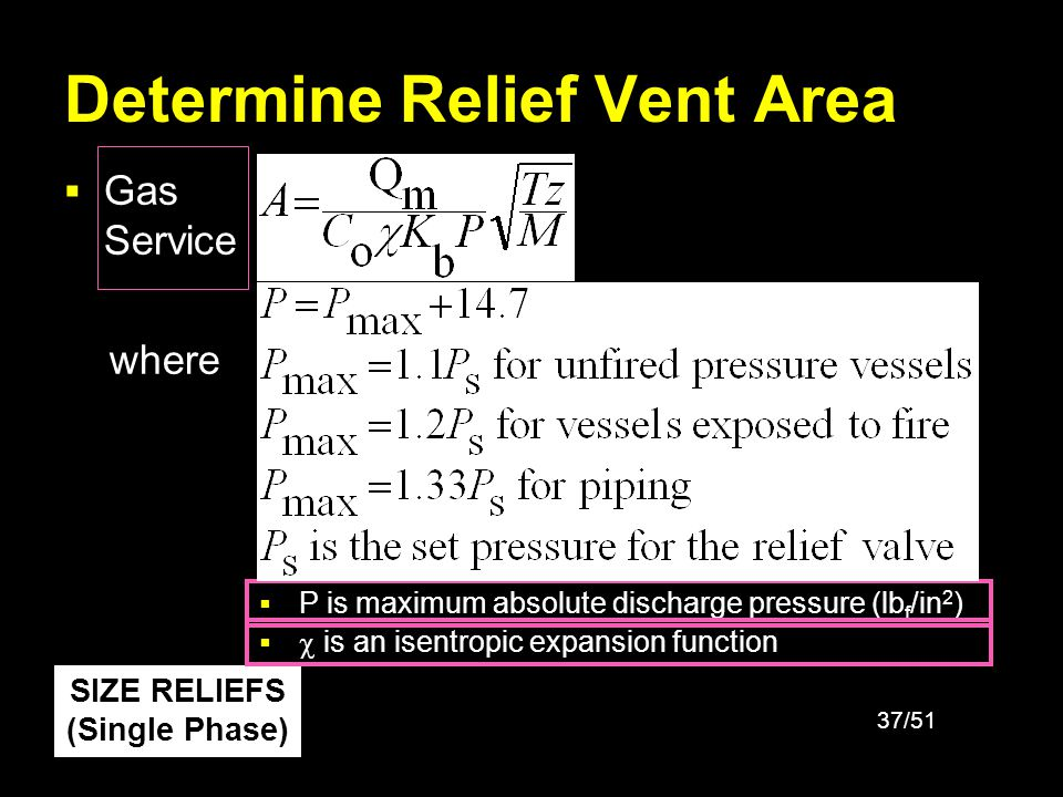 38/51 Determine Relief Vent Area Gas Service where is an isentropic expansion function is heat capacity ratio for the gas Units are as described in previous slide SIZE RELIEFS (Single Phase)