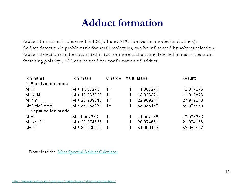 11 Adduct formation http://fiehnlab.ucdavis.edu/staff/kind/Metabolomics/MS-Adduct-Calculator/ Adduct formation is observed in ESI, CI and APCI ionizat