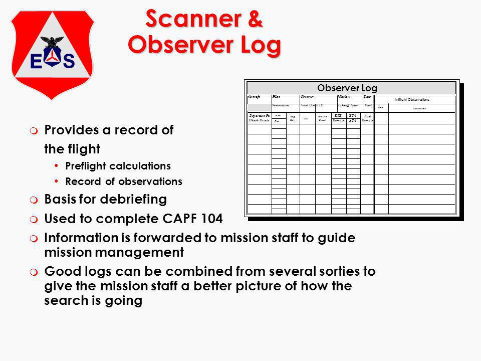 Scanner & Observer Log m Provides a record of the flight Preflight calculations Record of observations m Basis for debriefing m Used to complete CAPF 104 m Information is forwarded to mission staff to guide mission management m Good logs can be combined from several sorties to give the mission staff a better picture of how the search is going Observer Log AircraftPilotObserverMissionDate DestinationTotal Dist ETE Remain Takeoff Time ETA ATA Fuel Remain Fuel Inflight Observations Time Observation Departure Pt.