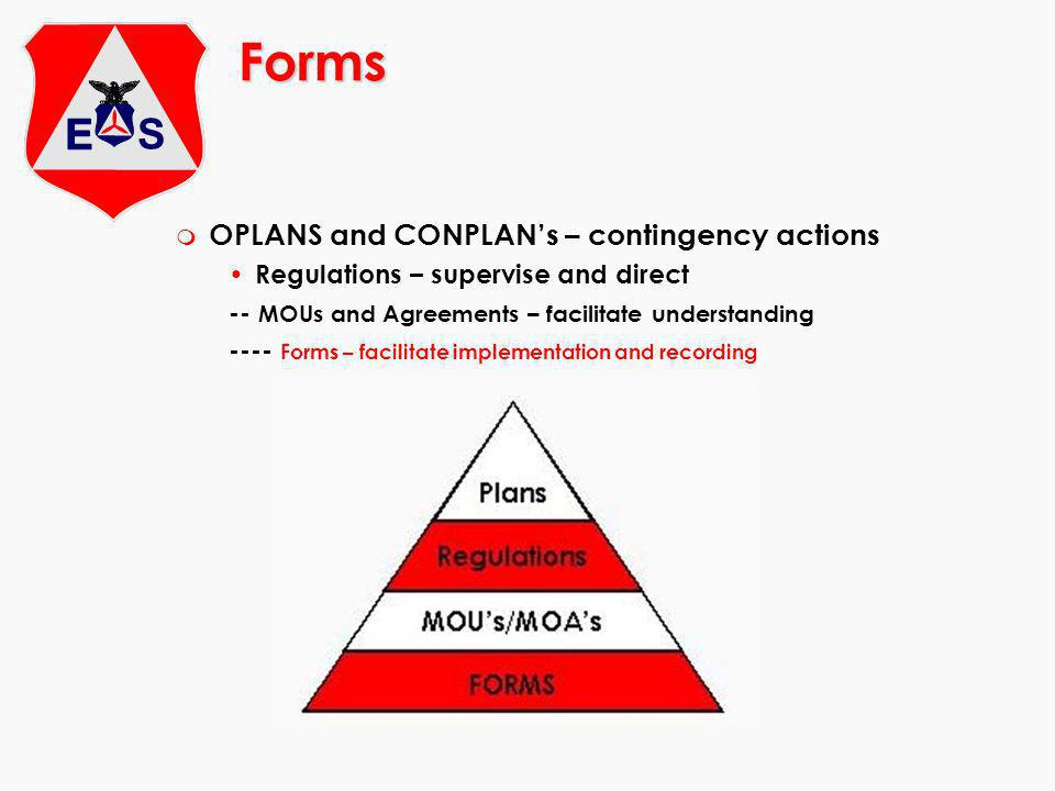 Forms m OPLANS and CONPLANs – contingency actions Regulations – supervise and direct -- MOUs and Agreements – facilitate understanding ---- Forms – facilitate implementation and recording