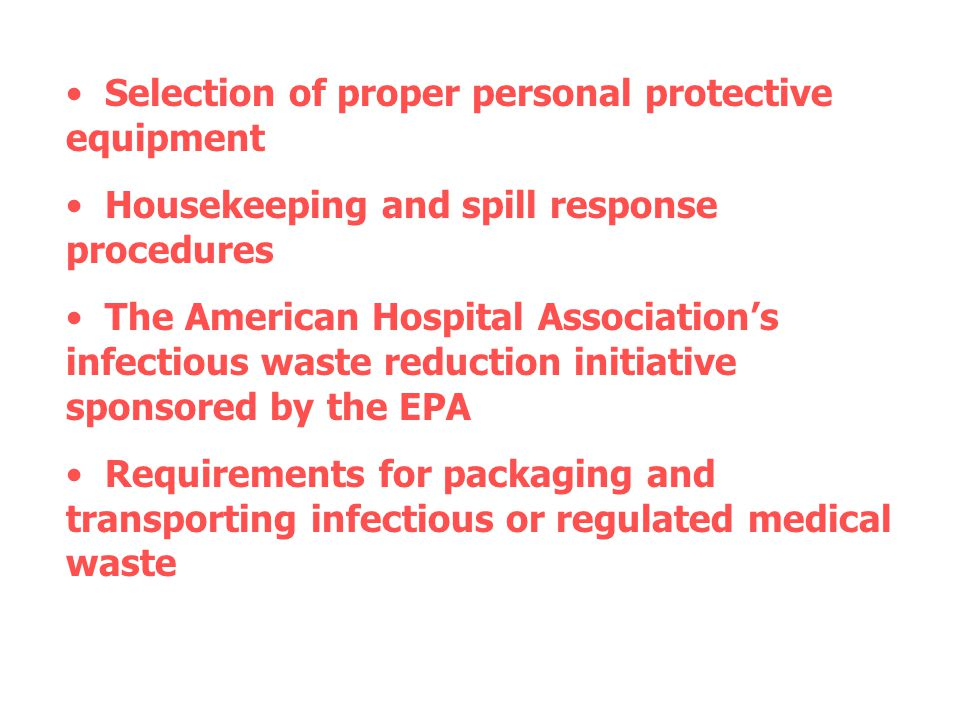 Process improvement for special care areas : Use a bucket method for cleaning each special care area, where a clean cloth is dipped into a bucket filled with approved disinfectant and items are cleaned and left wet for ten minutes.