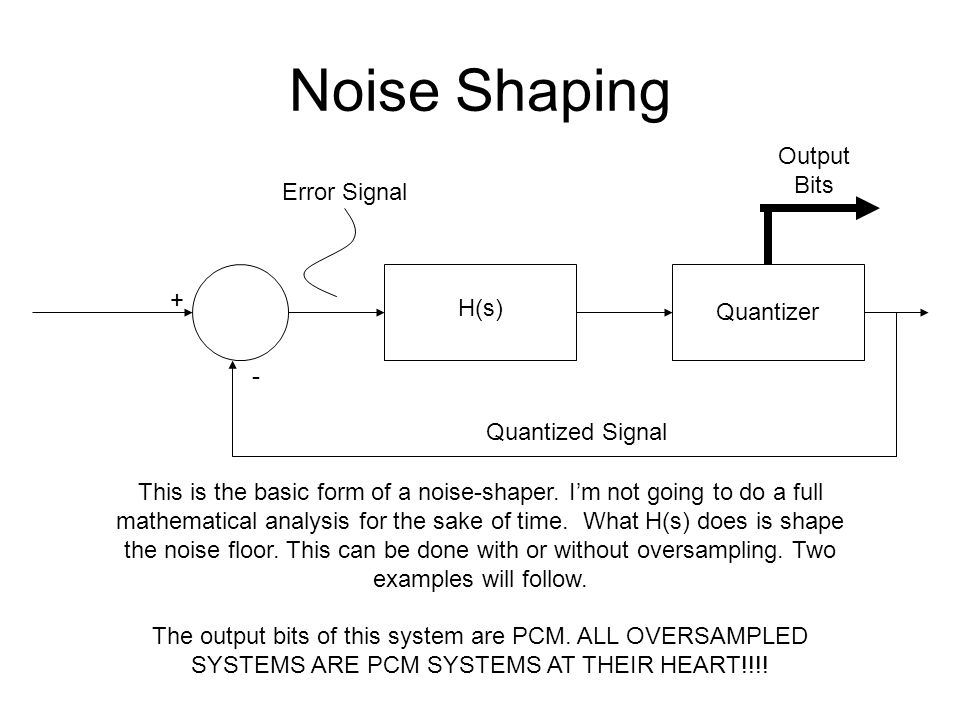 Noise Shaping + - H(s) Quantizer Output Bits Quantized Signal Error Signal This is the basic form of a noise-shaper. Im not going to do a full mathema