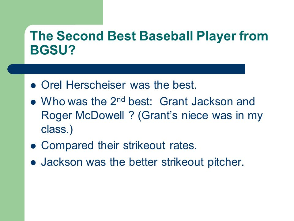 The Second Best Baseball Player from BGSU. Orel Herscheiser was the best.