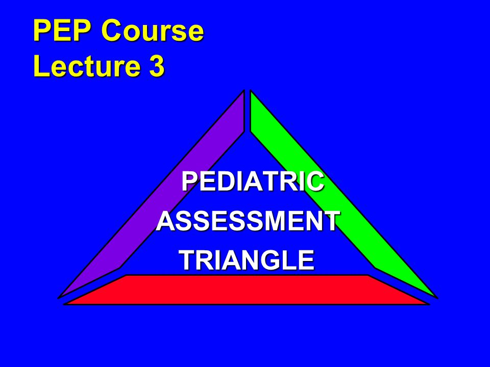 Lecture Objectives 1.Understand the elements of the Pediatric Assessment Triangle.