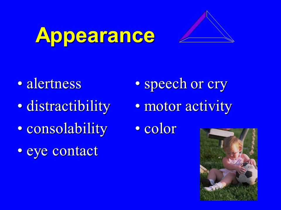 Appearance Appearance alertness speech or cry alertness speech or cry distractibility motor activity distractibility motor activity consolability color consolability color eye contact eye contact