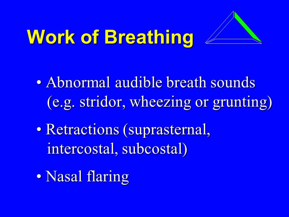 Work of Breathing Work of Breathing Abnormal audible breath sounds (e.g.