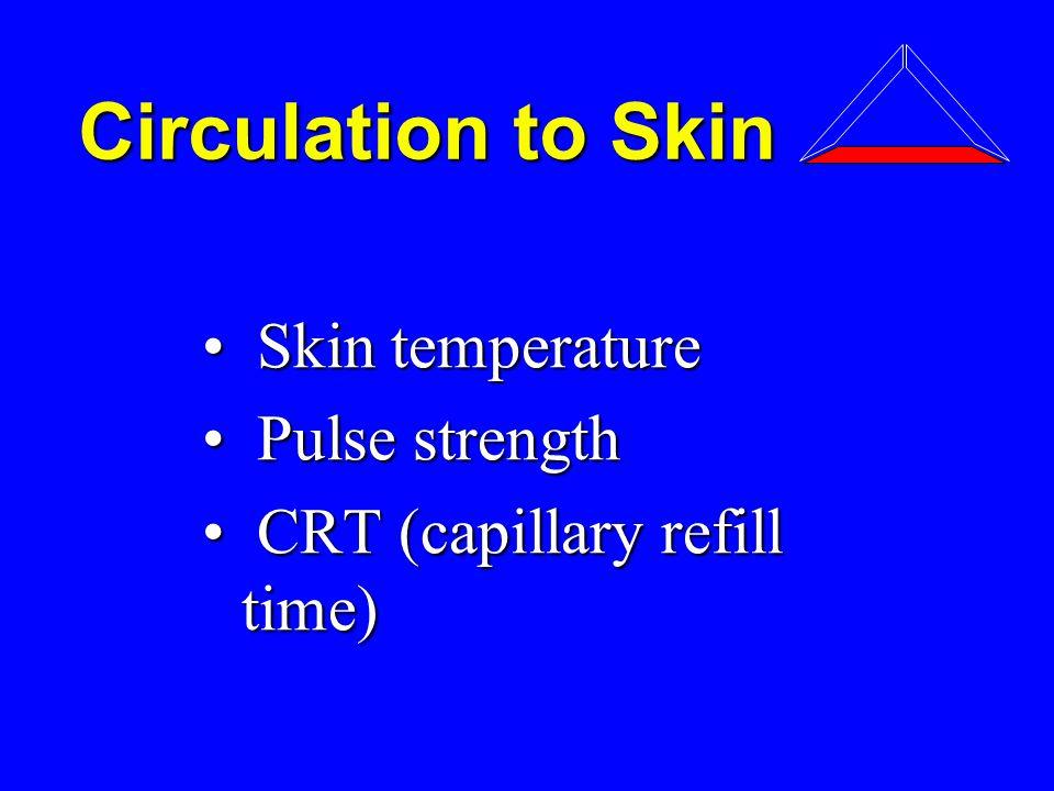 Circulation to Skin Skin temperature Skin temperature Pulse strength Pulse strength CRT (capillary refill time) CRT (capillary refill time)