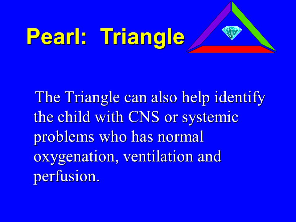 The Triangle can also help identify the child with CNS or systemic problems who has normal oxygenation, ventilation and perfusion.