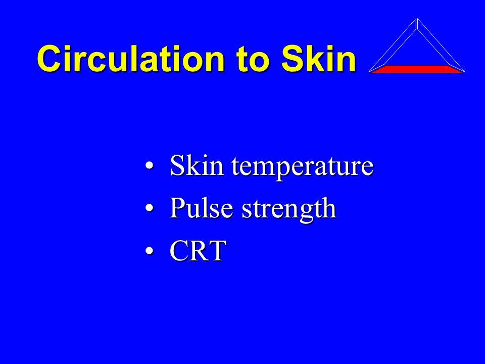 Circulation to Skin Skin temperature Skin temperature Pulse strength Pulse strength CRT CRT