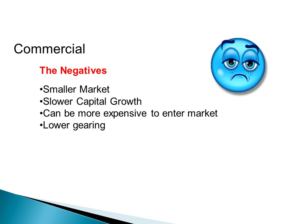 Commercial Smaller Market Slower Capital Growth Can be more expensive to enter market Lower gearing The Negatives