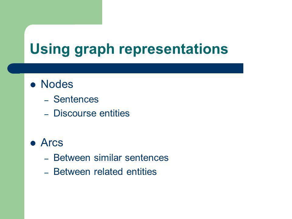 Using graph representations Nodes – Sentences – Discourse entities Arcs – Between similar sentences – Between related entities