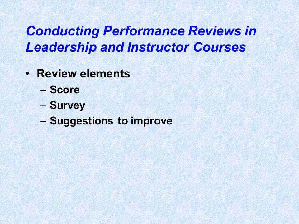 Conducting Performance Reviews in Leadership and Instructor Courses Review elements –Score –Survey –Suggestions to improve