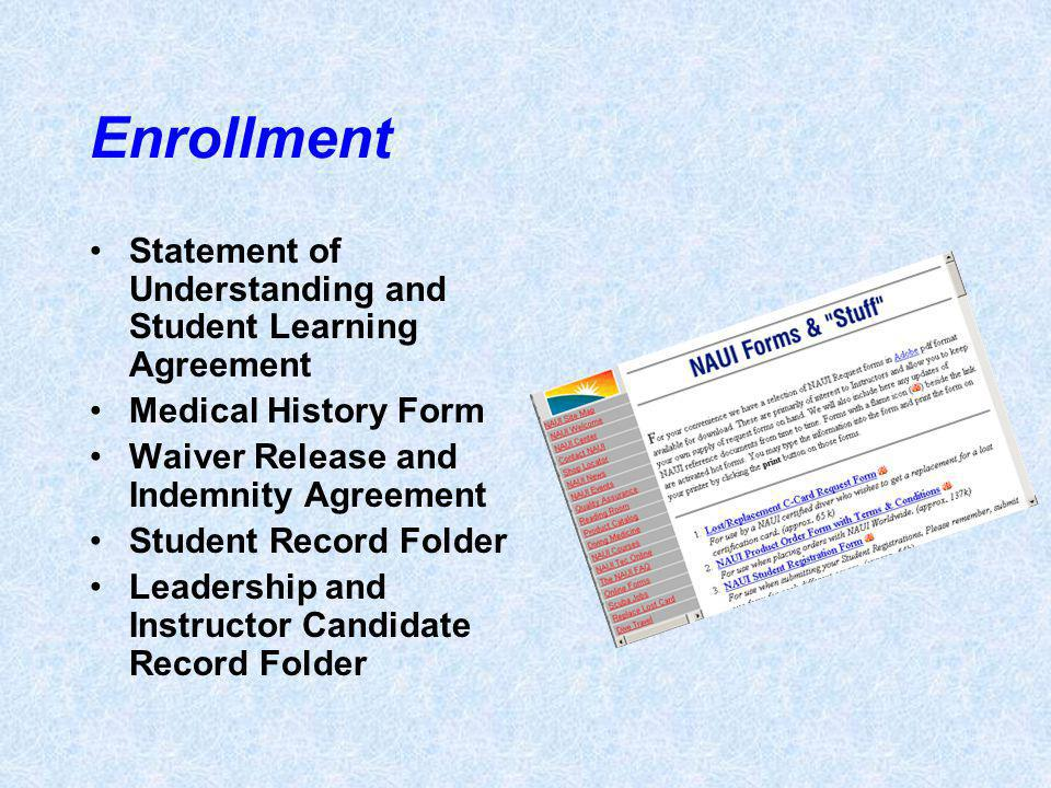 Enrollment Statement of Understanding and Student Learning Agreement Medical History Form Waiver Release and Indemnity Agreement Student Record Folder