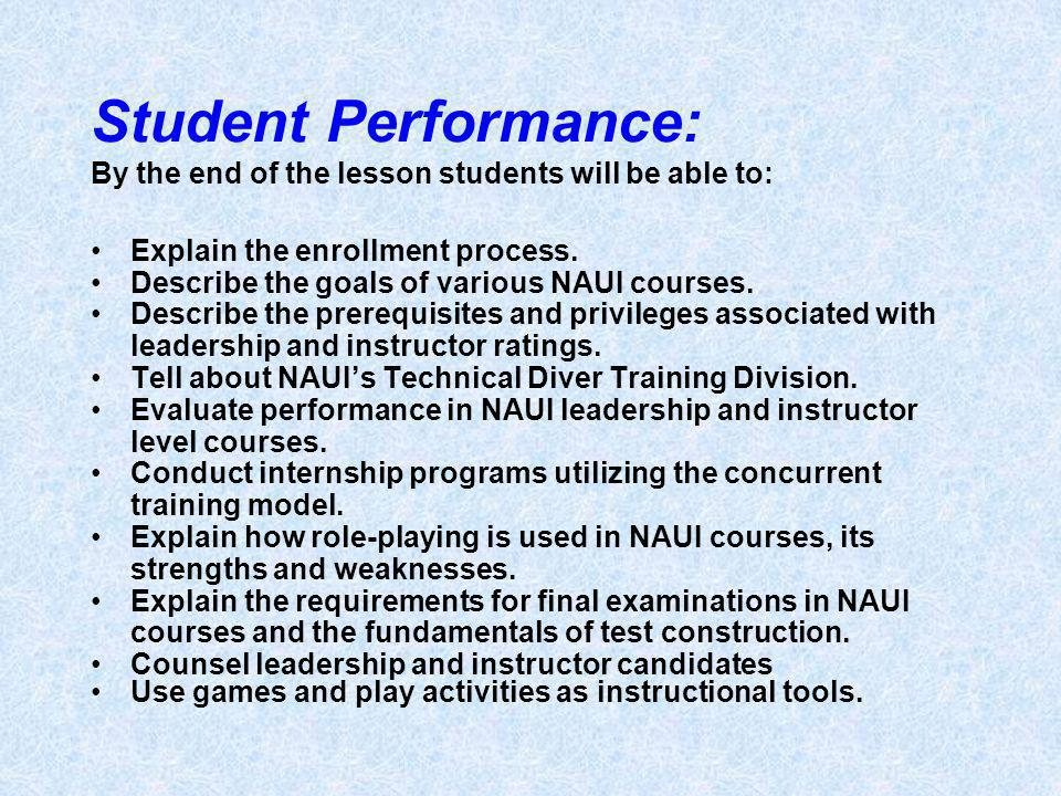 Student Performance: By the end of the lesson students will be able to: Explain the enrollment process.