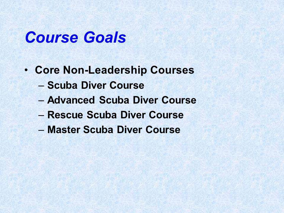 Course Goals Core Non-Leadership Courses –Scuba Diver Course –Advanced Scuba Diver Course –Rescue Scuba Diver Course –Master Scuba Diver Course