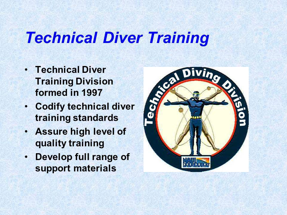 Technical Diver Training Technical Diver Training Division formed in 1997 Codify technical diver training standards Assure high level of quality training Develop full range of support materials
