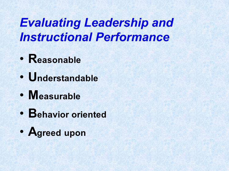 Evaluating Leadership and Instructional Performance R easonable U nderstandable M easurable B ehavior oriented A greed upon