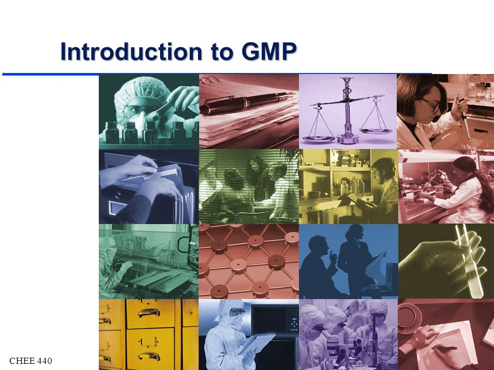 CHEE 4402 Objectives u Acquire basic knowledge of Good Manufacturing Practices (GMP) ä What are GMPs .