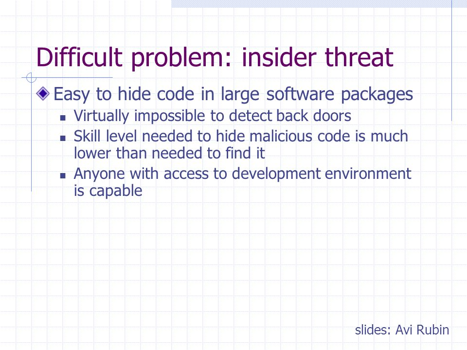 Difficult problem: insider threat Easy to hide code in large software packages Virtually impossible to detect back doors Skill level needed to hide malicious code is much lower than needed to find it Anyone with access to development environment is capable slides: Avi Rubin