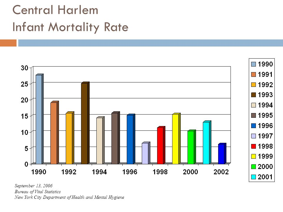 Central Harlem Infant Mortality Rate September 13, 2006 Bureau of Vital Statistics New York City Department of Health and Mental Hygiene