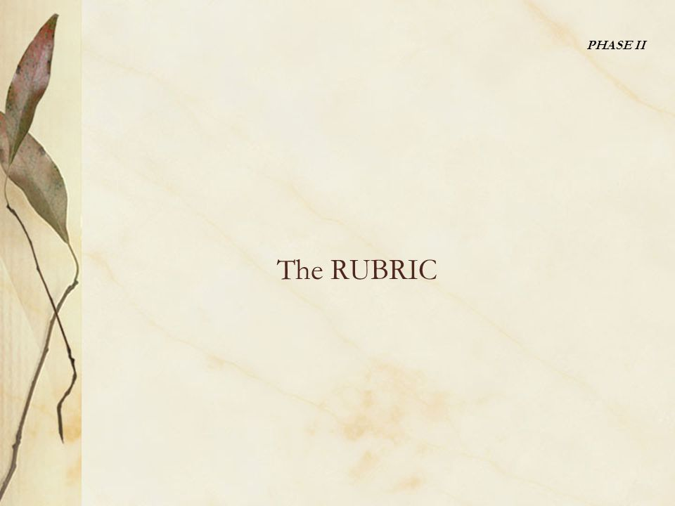The RUBRIC PHASE II