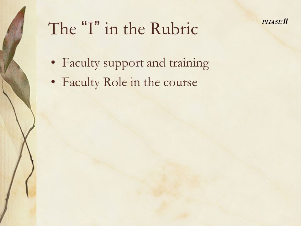 The I in the Rubric Faculty support and training Faculty Role in the course PHASE II