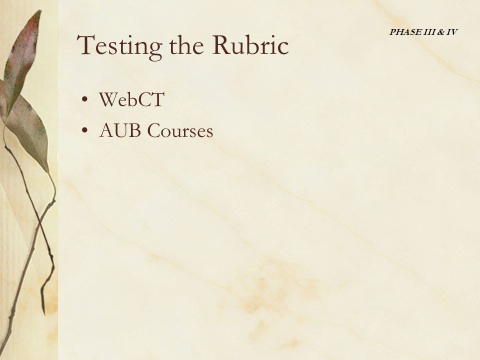 Testing the Rubric WebCT AUB Courses PHASE III & IV