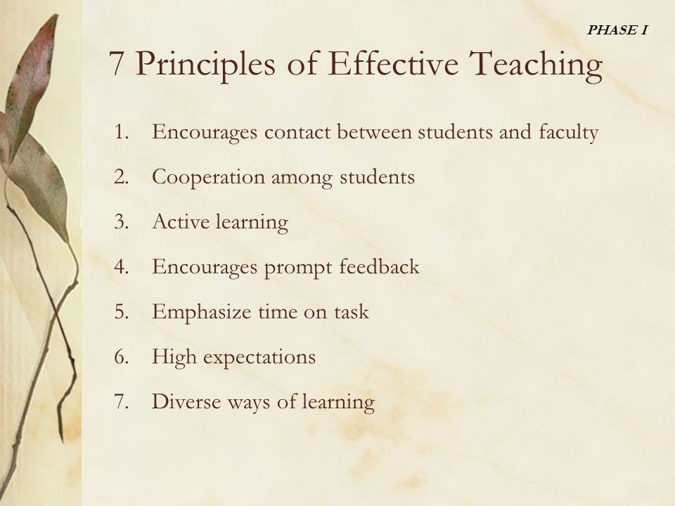 7 Principles of Effective Teaching 1.Encourages contact between students and faculty 2.Cooperation among students 3.Active learning 4.Encourages prompt feedback 5.Emphasize time on task 6.High expectations 7.Diverse ways of learning PHASE I