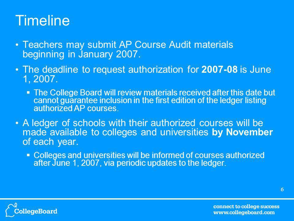6 Timeline Teachers may submit AP Course Audit materials beginning in January 2007.
