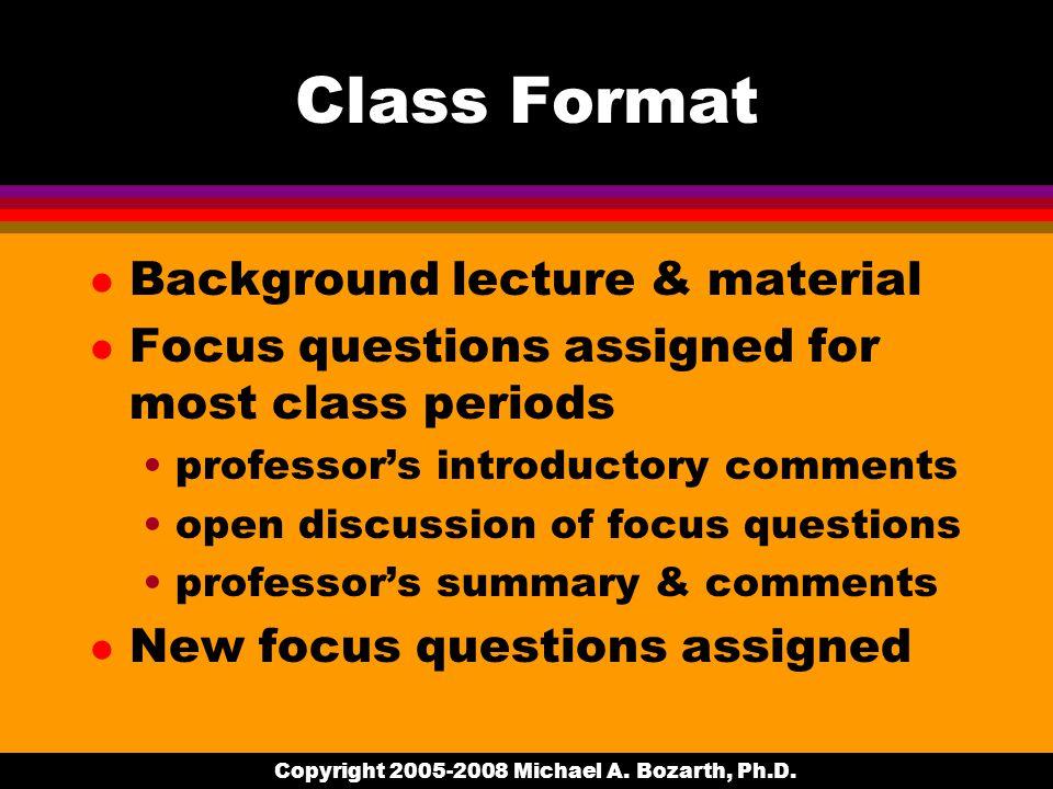Copyright 2005-2008 Michael A. Bozarth, Ph.D.