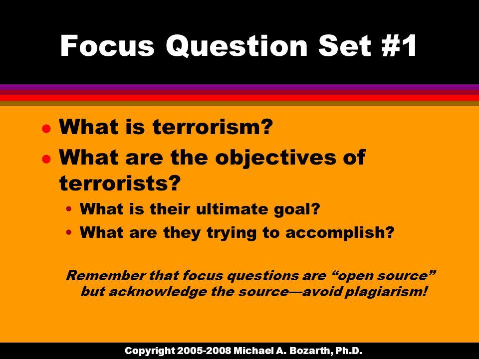 Copyright 2005-2008 Michael A. Bozarth, Ph.D. Focus Question Set #1 l What is terrorism.