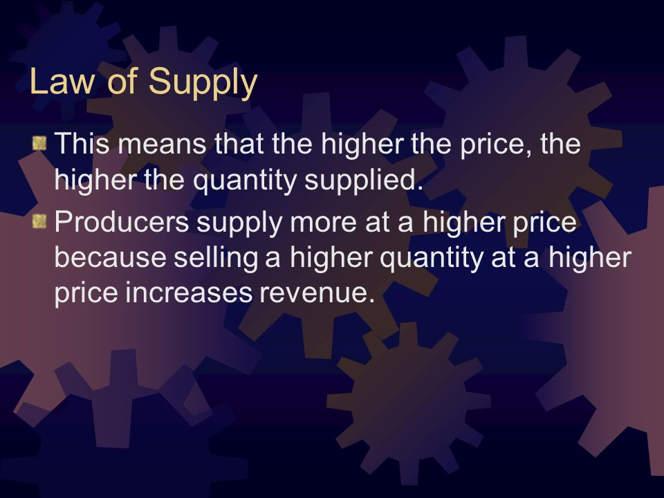 This means that the higher the price, the higher the quantity supplied.