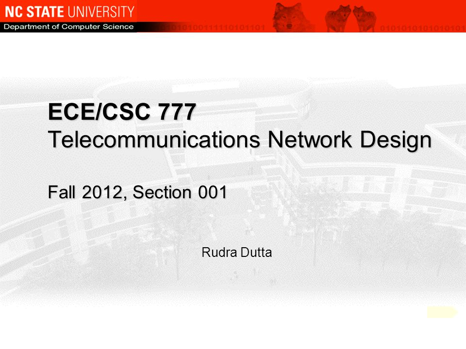 Copyright Fall 2012, Rudra Dutta, NCSU2 Course Objectives Study the problem of designing circuit networks – Analytical models – Control mechanisms - typical – Resource optimization Specific scope: other equally pertinent topics excluded – Virtual circuit or context formation, switch design, … Assume general networking knowledge – Various types of networking arenas, common protocols