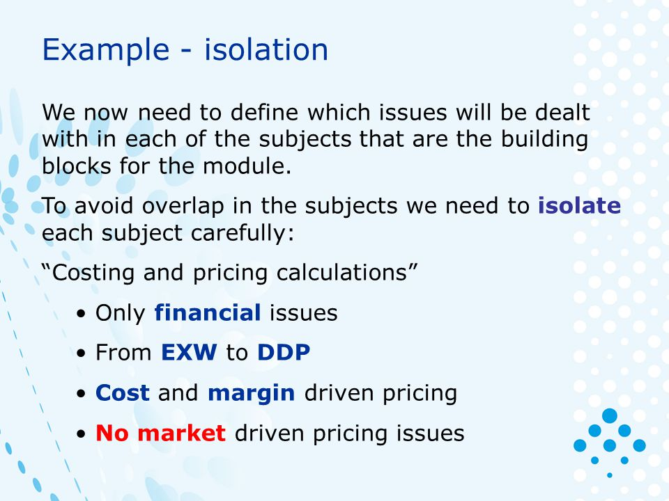 Example - isolation We now need to define which issues will be dealt with in each of the subjects that are the building blocks for the module.