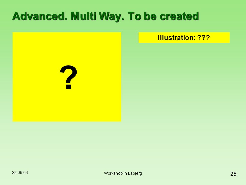 22.09.08 25 Workshop in Esbjerg Advanced. Multi Way. To be created ? Illustration: ???