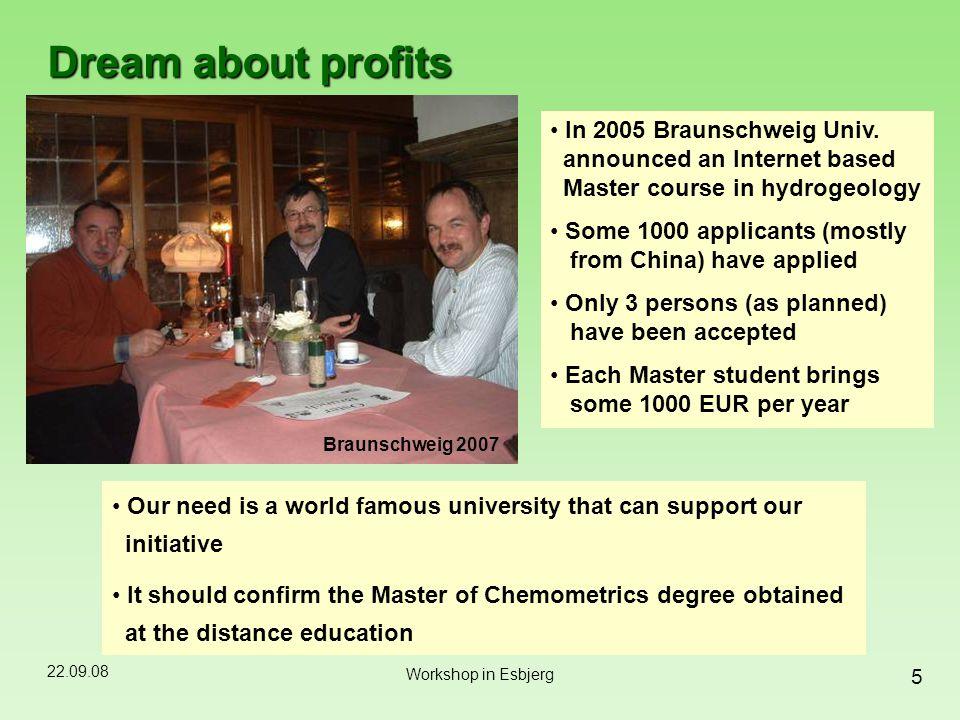 22.09.08 5 Workshop in Esbjerg Dream about profits Braunschweig 2007 In 2005 Braunschweig Univ.