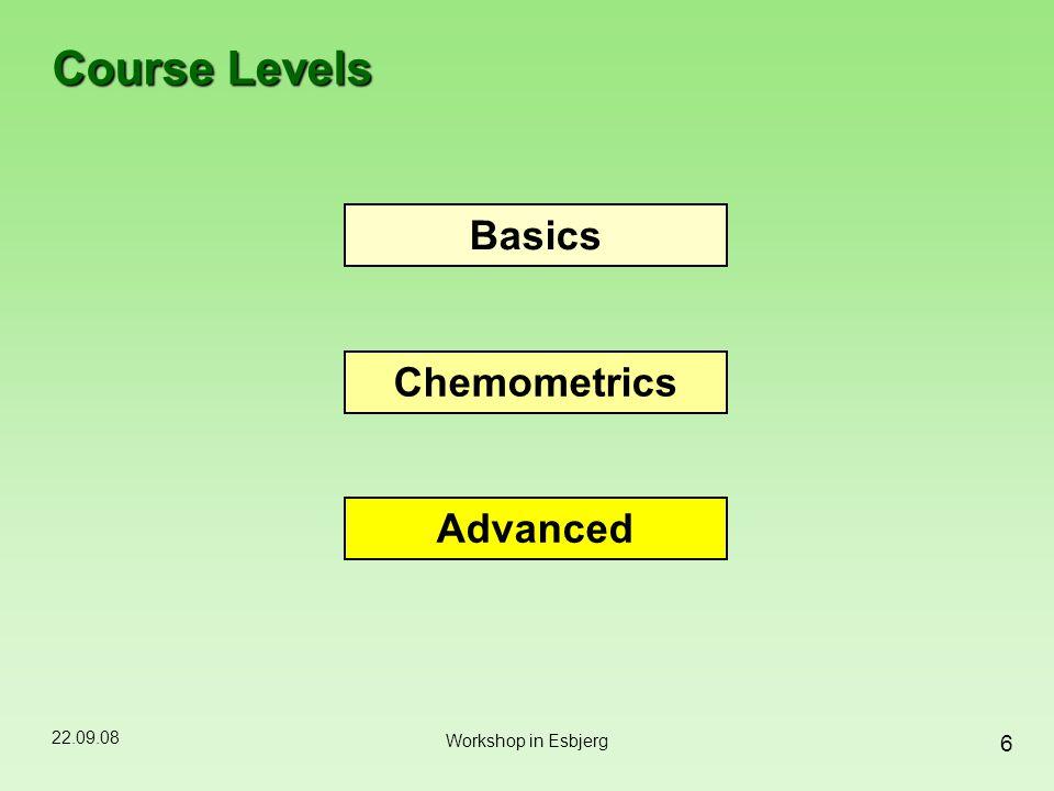 22.09.08 6 Workshop in Esbjerg Course Levels Basics Chemometrics Advanced